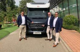 vThorsten Erhardt (Marketing-Leiter), Jens Kromer (Bürstner Geschäftsführer), Markus Pangerl (Produkt-Manager)