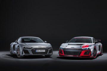 Audi R8 5.2 FSI Coupé und R8 LMS GT4 (von links).