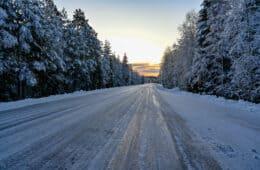 slippery icy winter road in Varmland Sweden